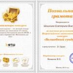 Похвальная грамота Шишкиной Екатерины